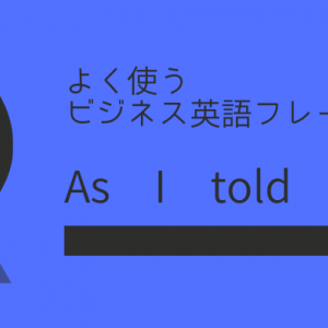 As I told youの使い方【よく使う英語フレーズ】