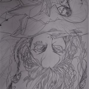 海竜と黒髪長髪