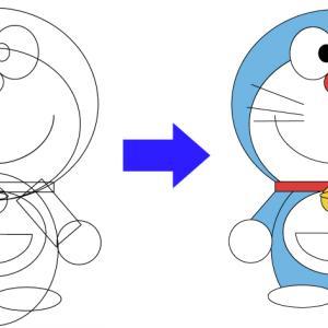 【Illustrator】○と□とシャイプ形成ツールでイラストレーターに!ドラえもん編