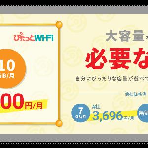 Wi-Fi事業者がレビュー「大容量なんて必要ない!」がコンセプトのぴたっとWi-Fi