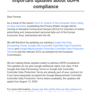 Google】Important updates about GDPR compliance