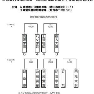 がんばれ福岡2020 第65回福岡県高等学校軟式野球大会の組み合わせ