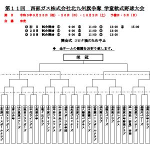 第11回 西部ガス株式会社北九州旗争奪 学童軟式大会の組み合わせ(学童軟式)