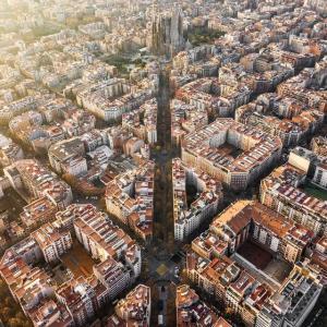 バルセロナの息をのむような素晴らしい空中写真