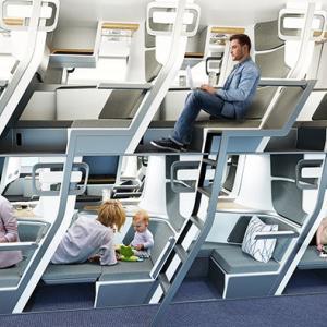 飛行機のエコノミークラスの座席でも横になれる新設計アイデア