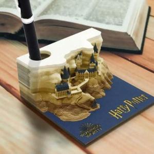 めくると徐々にハリー・ポッターのホグワーツ魔法学校が現れる立体メモブロック
