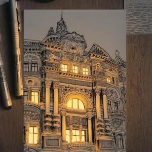 光に照らされたようなペンで描かれた建物