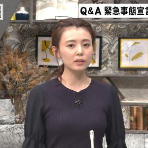 宮澤智アナ 胸の膨らみがわかりやすい黒ニットのおっぱい【キャプ画像】