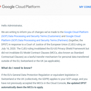 [Legal Notice] Google Cloud Platform Data Processing and Security Terms updated to address the invalidation of EU-US Privacy Shield