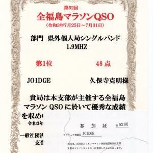 全福島マラソンコンテストの賞状が到着しました。