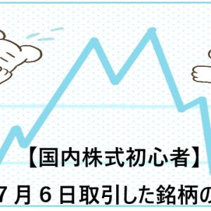【国内株式初心者】2021年7月6日取引した銘柄の記録