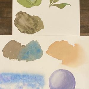 今日の水彩画教室は基礎練習
