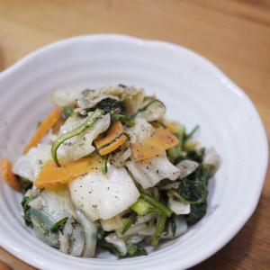 キャベツと春菊のごま醤油和え(重ね煮)