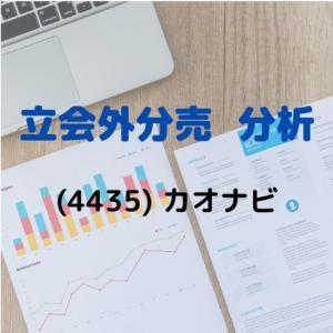 【立会外分売分析】4435 カオナビ