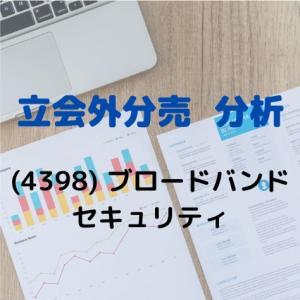 【立会外分売分析】4398 ブロードバンドセキュリティ