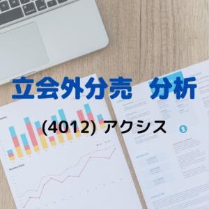 【立会外分売分析】4012 アクシス