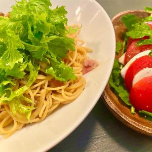 【日常】『わさび菜 de サッパリ和風パスタ』と『パナゲ流カプレーゼ』【パナゲcooking】
