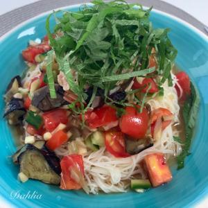 夏野菜と素麺と。