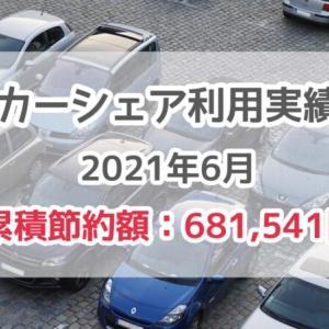 【カーシェア利用実績2021年6月】1,980円(累積節約額681,541円)