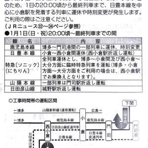 【備忘】西小倉発特急ソニック号、にちりん号のダイヤ(工事にともなう臨時ダイヤ)