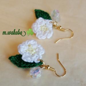 白花と朝露のピアス