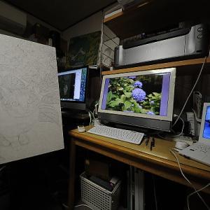 日本画「猫と紫陽花」