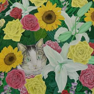 日本画「百花繚乱に猫一輪」