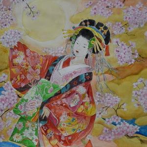 水彩画「花魁(現代風)」