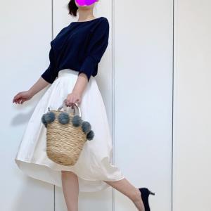 オフィスOK!?ミモレ丈白スカートできれいめ楽ちんコーデ