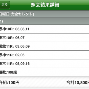 WIN5予想結果(6月21日)