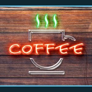 ネオンスタイルのコーヒーデザインが作成できる無料PSDデザイン素材