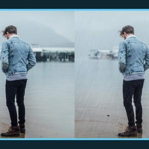 写真に雨を追加できる無料Photoshopアクション