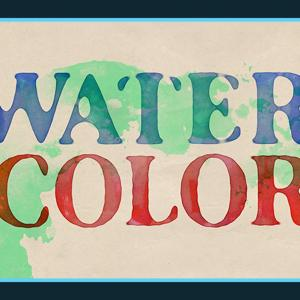 文字を色が混ざった水彩画風に加工できる無料PSDデザイン素材