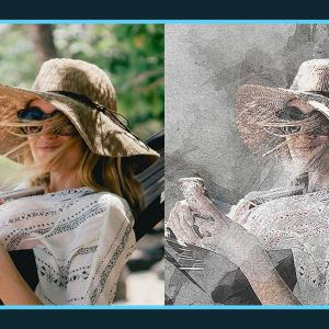 写真をアーティスティックな手描き風に加工できる無料Photoshopアクション