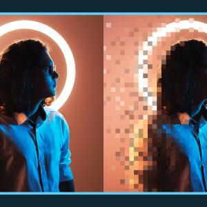 写真の一部をピクセル状に加工できる無料PSDデザイン素材