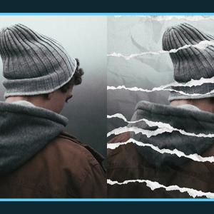 写真をくしゃくしゃに破ったような加工ができる無料PSDデザイン素材
