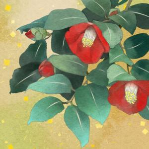 日本画タッチの椿の絵 完成♪