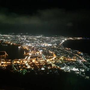 函館山で夜景にありつく。函館山ロープウェイの所要時間は3分くらい 函館旅行#9