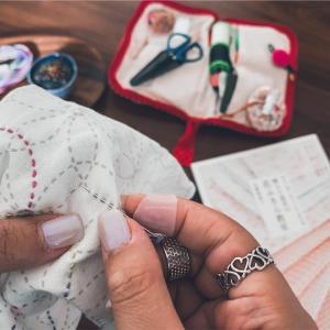 手縫い針と久々の刺し子