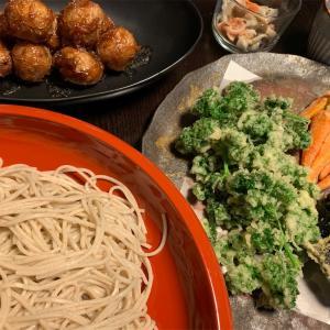 今日の晩ご飯。蕎麦と天ぷら☆