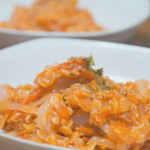 トマトの酸味でさっぱりと!【オートミールのハッシュドビーフ風】レシピ・作り方