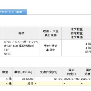 【手数料負け】SPYD全保有分売却