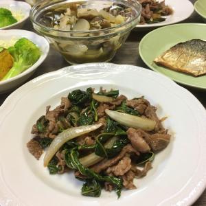 昨日の夕飯はモロヘイヤ、青魚はサバで