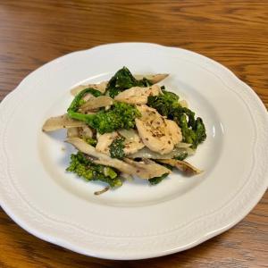 菜の花と鶏ムネ肉のマスタード炒め