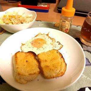 昨日焼いたパン、朝からトーストにして食べたら美味かった(´~`)