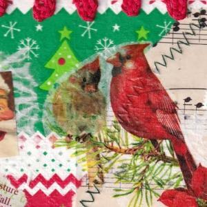 続クリスマスカード作り~鳥で色々なコラージュを試す~