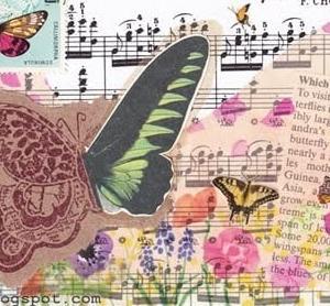 ハンドメイドコラージュポストカード:蝶