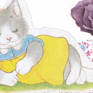 ハンドメイドポストカード #15:花と気取り猫