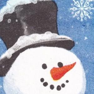 ハンドメイドポストカード #20キラキラ雪だるま