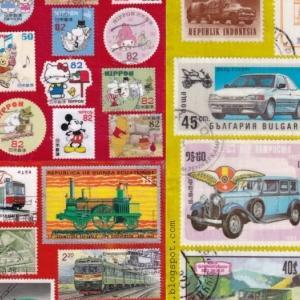 切手のコラージュ ハンドメイドポストカード #34-36